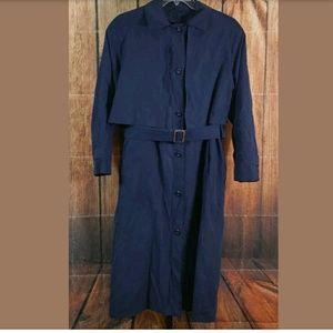 London Fog Trench Coat Womens Size 8 Reg Navy Blue
